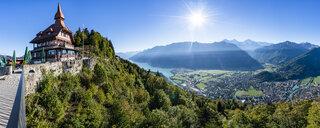 Switzerland, Canton of Bern, Bern Alps, Interlaken, Lake Brienz, Restaurant on Harder Kulm - STSF01777