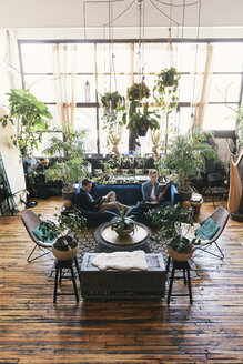 High angle view of gay men sitting on sofa amidst potted plants at home - CAVF52813