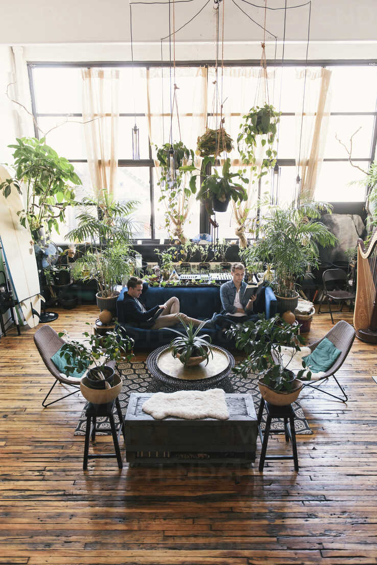 High angle view of gay men sitting on sofa amidst potted plants at home - CAVF52813 - Cavan Images/Westend61