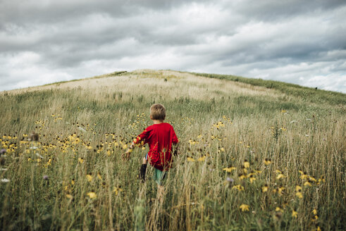Rear view of boy walking on grassy field against cloudy sky - CAVF53063