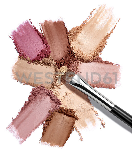 Close up of face powder make up on white background - RAMF00077