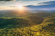 Beautiful scenic view of the trees and mountains on a sunny day in Russia - INGF06221