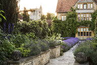 View of historic manor house from across a walled garden with path and flowerbeds. - MINF09481