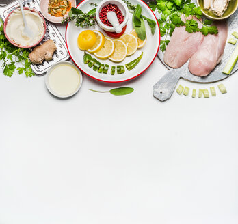 High angle view of fresh food on a table - INGF06294