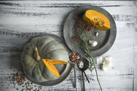 Sliced Cucurbita maxima and spices for preparing pumpkin soup - ASF06242