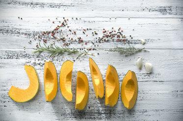 Sliced Cucurbita maxima and spices for preparing pumpkin soup - ASF06245