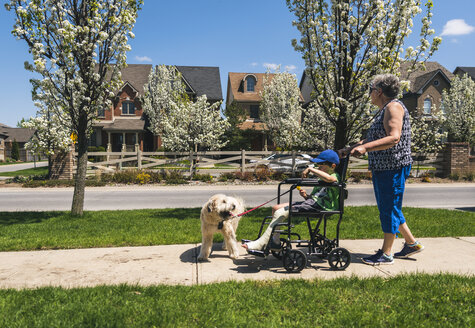 Side view of grandmother pushing grandson on wheelchair with dog on footpath during sunny day - CAVF53888