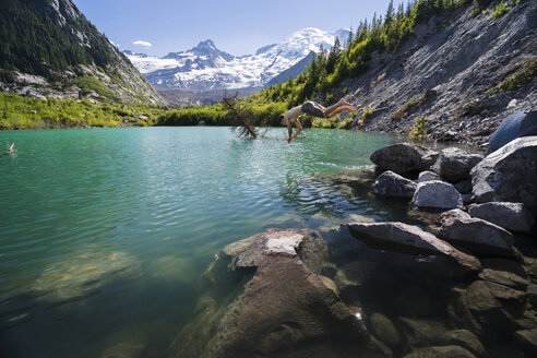 Side view of shirtless man diving in river at Mount Rainier National Park - CAVF53956