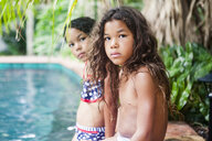 Portrait of sisters by swimming pool - CAVF54037