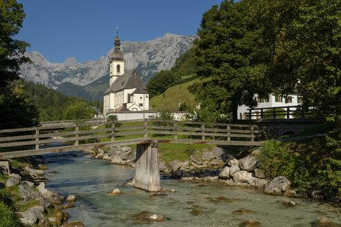 Germany, Bavaria, Berchtesgadener Land, Parish church St Sebastian in front of Reiteralpe mountain - LBF02189