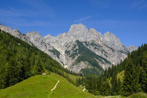 Germany, Bavaria, Berchtesgadener Land, Berchtesgaden Alps, Klausbach Valley, Bindalm, Muehlsturzhoerner mountain - LBF02192