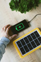 Renewable energy technology, solar panel charging a mobile phone battery - GEMF02493
