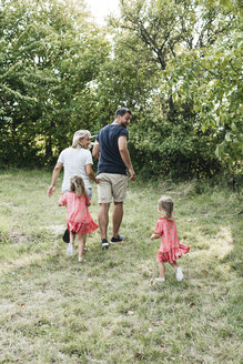 Rear view of family with two daughters on a meadow - HMEF00052