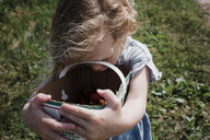 High angle view of cute girl holding basket with strawberries while standing on grassy field - CAVF54678
