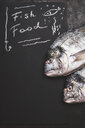 Fish food, text on black chalkboard background - INGF07525
