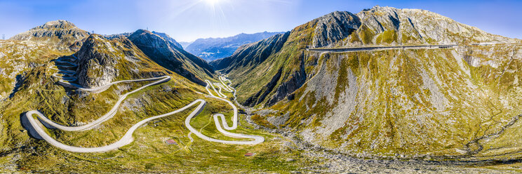 Switzerland, Ticino, Aerial view of Gotthard Pass - STSF01795