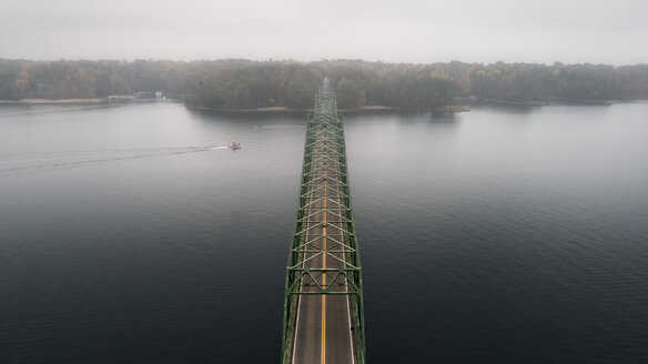 High angle view of Browns Bridge over Lake Sidney Lanier against sky - CAVF55129