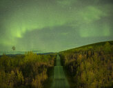 Scenic view of road amidst trees against aurora borealis at night - CAVF55660