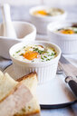Oefs en cocotte (Individual baked eggs) with spinach, feta, bacon, eggs, and slices of bread - SBDF03831