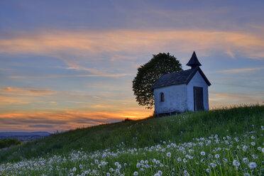 Germany, Upper Bavaria, Aidlinger Hoehe, Chapel at sunset - RUEF02044