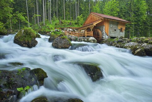 Old Mill at the river Schwarzbach near the famous Golling waterfall in spring, Austria - RUEF02053