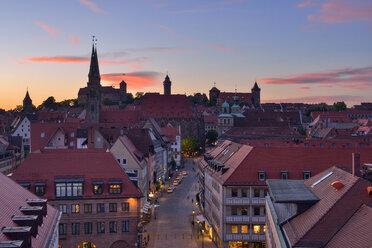 Skyline of Nuremberg at sunset, Bavaria, Middle Franconia, Germany - RUEF02071