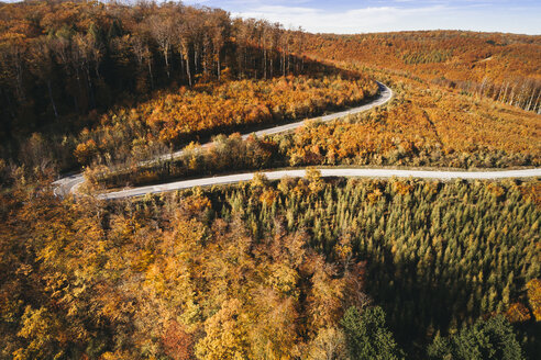 Austria, Lower Austria, Vienna Woods, Exelberg, aerial view on a sunny autumn day over a winding mountainroad - HMEF00103