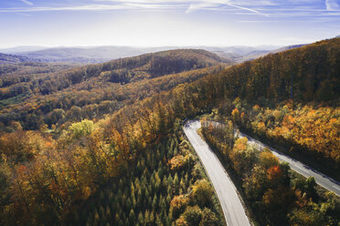 Austria, Lower Austria, Vienna Woods, Exelberg, aerial view on a sunny autumn day over a winding mountainroad - HMEF00106