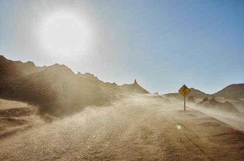 Chile, Valle de la Luna, San Pedro de Atacama, sand track in sandstorm - SSCF00048