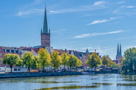 Germany, Schleswig-Holstein, Luebeck, Lower Trave river, St. Mary's Church and St. Petri church - FRF00777