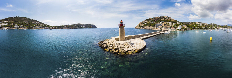 Spain, Balearic Islands, Mallorca, Andratx Region, Aerial view of Port d'Andratx, coast and natural harbour with lighthouse - AMF06231