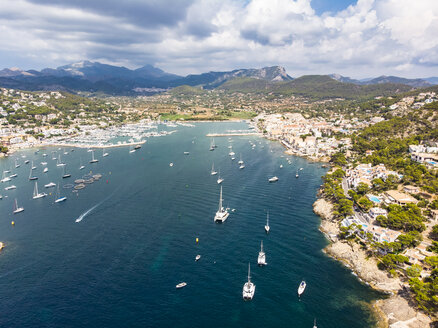 Spain, Balearic Islands, Mallorca, Andratx Region, Aerial view of Port d'Andratx, coast and natural harbour - AMF06237