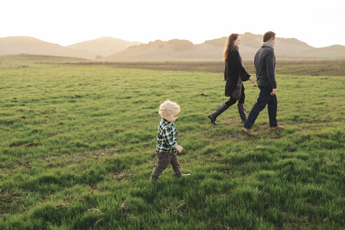 Side view of family walking on grassy field against clear sky - CAVF55948