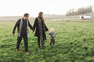Smiling family holding hands while walking on grassy field against clear sky - CAVF55951