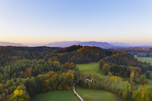Germany, Upper Bavaria, Toelzer Land, Bavarian Prealps, Dietramszell, Zeller Wald, Aerial view of forest in autumn at sunrise - SIEF08136