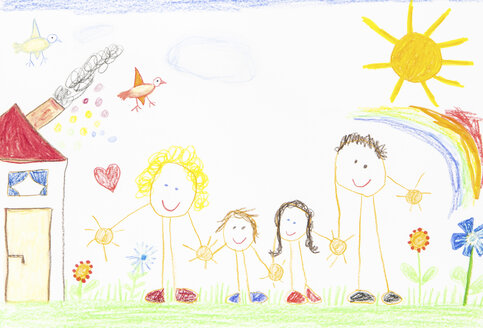 Children´s drawing, happy family with house, garden, sunshine and rainbow - CMF00865