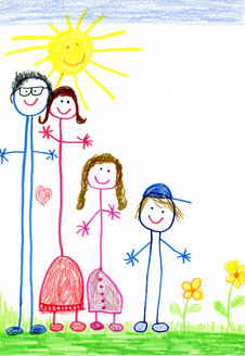 Children´s drawing, happy family - CMF00868
