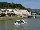 Austria, Salzburg, old town, tourboat on Salzach - WW04490