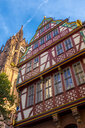 Germany, Frankfurt, Dom-Roemer Project, facade of an house and church tower - MHF00487