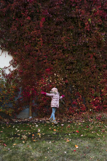 Girl throwing autumn leaves in the air in the garden - PSIF00167