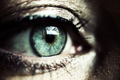 Green eye of made-up woman, close-up - JATF01070