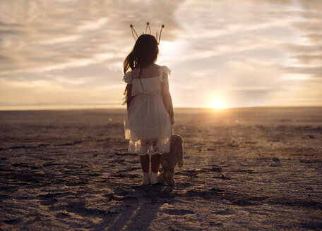 Rear view of girl with stuffed toy standing on field against cloudy sky during sunset - CAVF56017