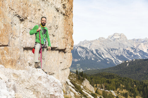 Italy, Cortina d'Ampezzo, portrait of a climber in the Dolomites mountains - WPEF01155