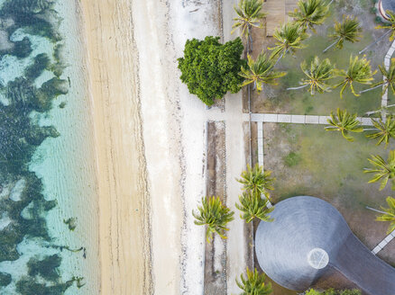 Indonesia, West Sumbawa, Aerial view of Kertasari, beach and hut from above - KNTF02377