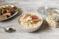 Bowl of porridge with rhubarb - EVGF03388