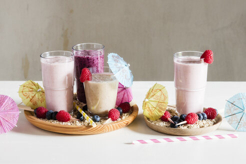Glasses of berry smoothies with oat flakes - EVGF03391