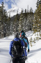 Rear view of hikers hiking in forest during winter - CAVF57266