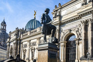 Germany, Dresden, academy of fine arts with monument of Gottfried Semper in the foreground - JATF01089