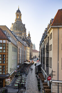 Germany, Dresden, view to Church of Our Lady with Muenzgasse in the foreground - JATF01095