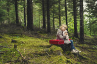 Girl embracing stuffed toy while sitting on tree stump at forest - CAVF57444